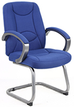 high back fabric visitor chair in blue