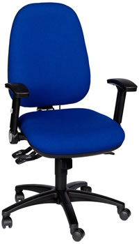 Rental Blue KX2 Ergonomic Office Chair with Multiple Levers and Folding Arms