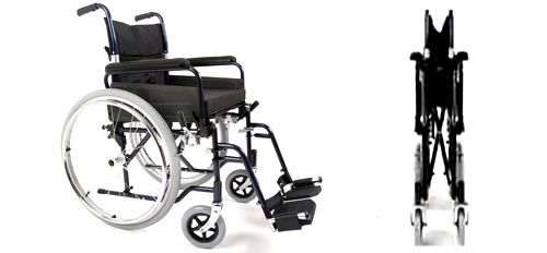 Rental self propelled folding wheelchair side and front view