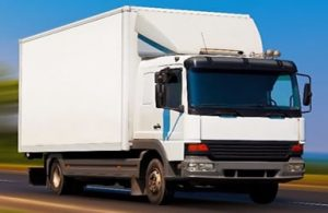 white 18 tonne box heavy goods vehicle