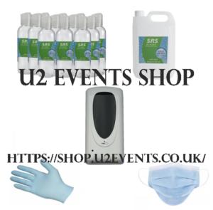 U2 Events Shop website plus sanitiser and PPE